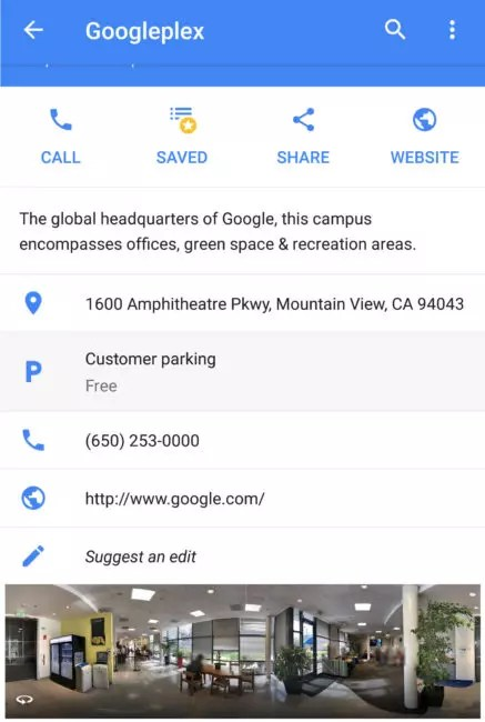sitio en Google Maps