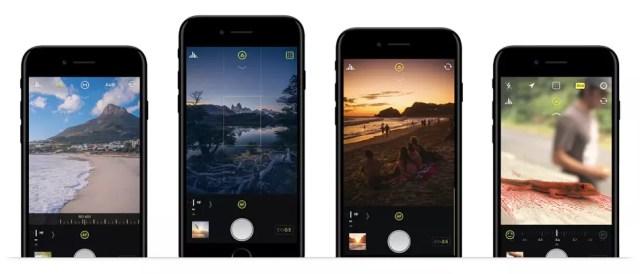 Interfaz de la app de cámara Halide para iPhone