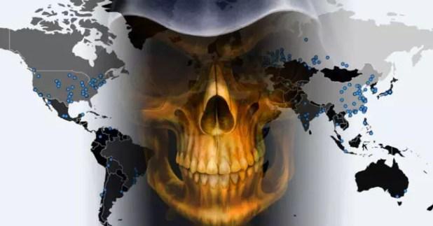 Calavera con virus y mapa del mundo