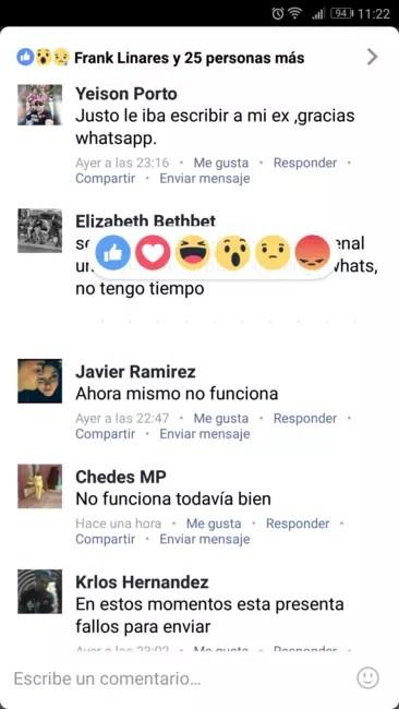 reacciones en comentarios