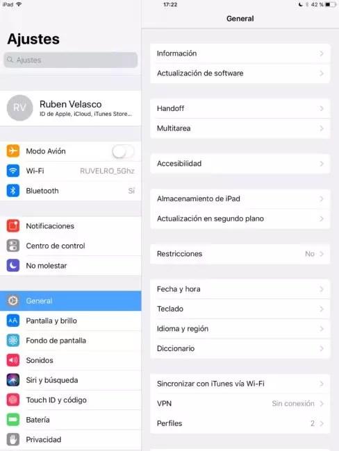 Ajustes - General - iOS
