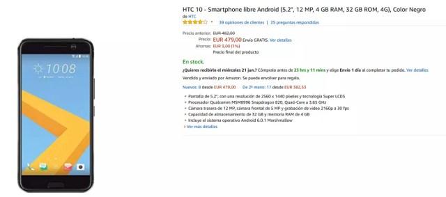 Precio del HTC℗ 10 en Amazon