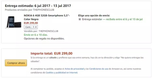 Compra del Nokia℗ 6 a través de Amazon