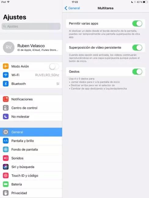 Opciones multitarea iOS
