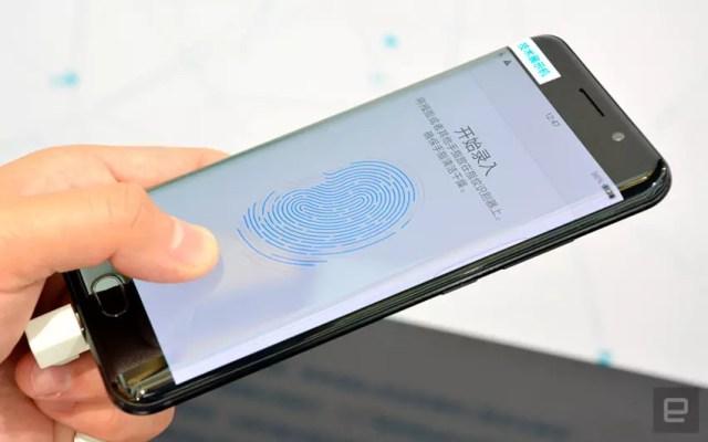 Sensor de huellas entrado en pantalla de smartphone