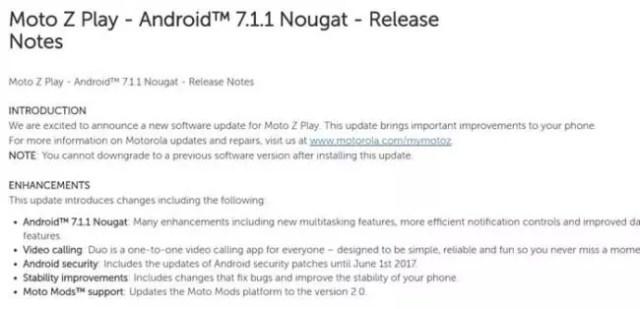 Android 7.1.1 para el Moto Z Play