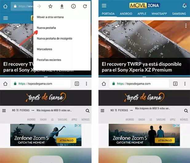 Dos pestañas de Google Chrome en pantalla dividida