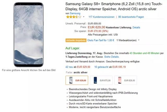 Precio del Samsung℗ Galaxy℗ S8+ en Amazon℗ Alemania