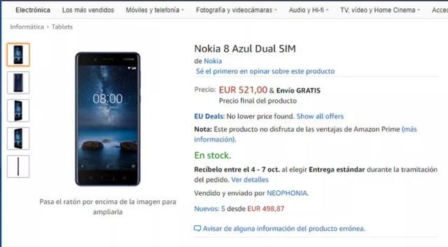 Precio del Nokia℗ 8 en Amazon