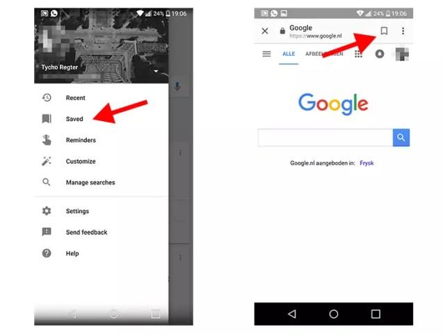 guardar páginas en la aplicación de Google