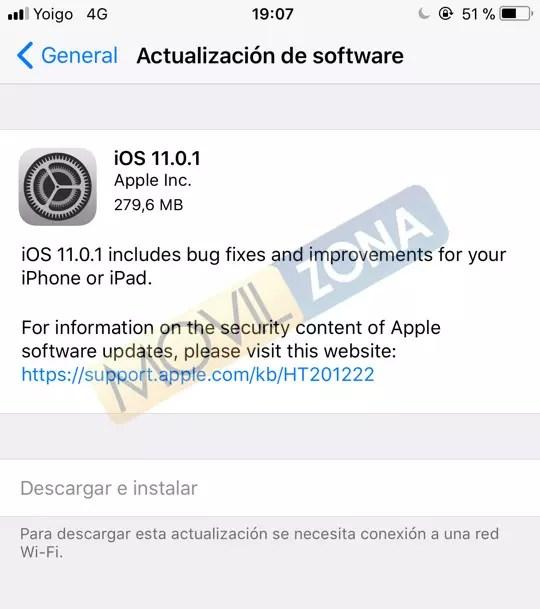 Actualización OTA con iOS 11.0.1