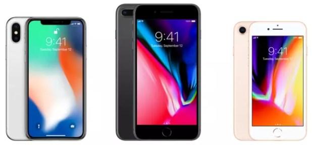 Iphone 8, iPhone 8 Plus y iPhone X de frente
