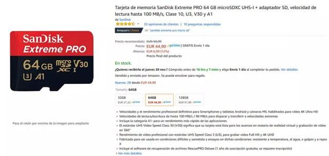 Tarjeta micro SD de SanDisk