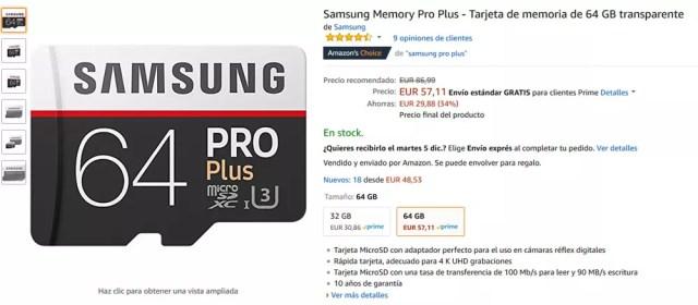 Tarjeta micro SD UHS U3 de Samsung