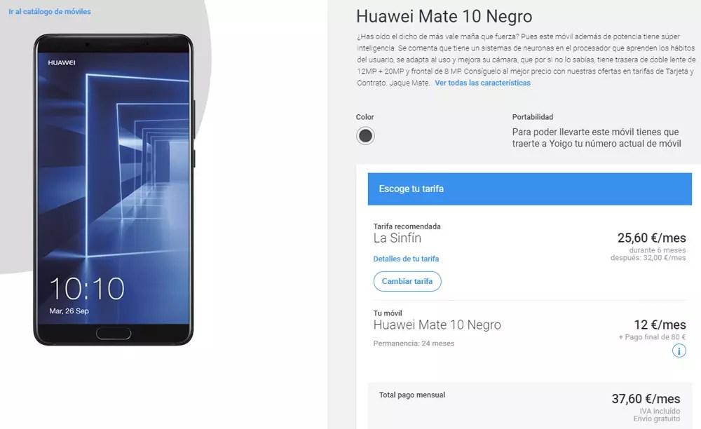 Cómo comprar el Huawei Mate diez con descuento en Yoigo