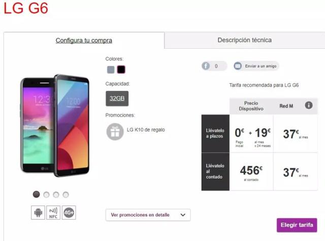 LG G6 en el inventario de Vodafone