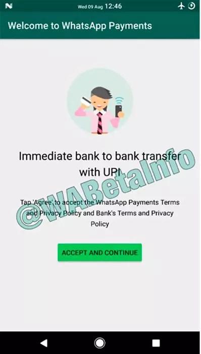 Interfaz de WhatsApp Pay