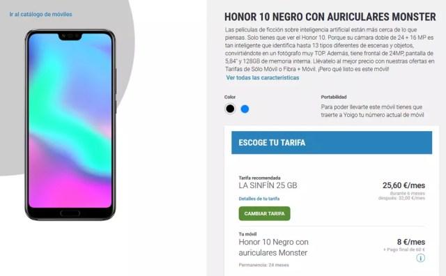 Precios y tarifas para comprar el Honor 10 en Yoigo