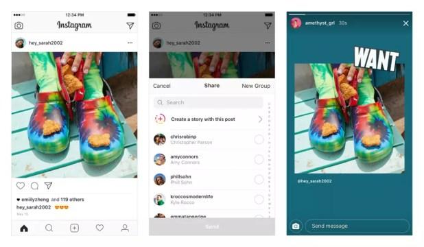 Opción de publicar una foto de Instagram en tus Historias sin realizar capturas de pantalla