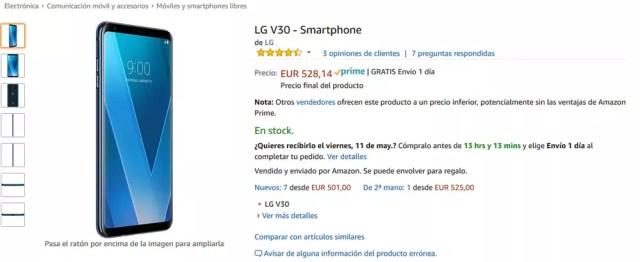 LG V30 con descuento en Amazon