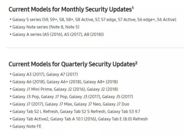 actualizaciones de seguridad trimestrales para los Galaxy℗ A6
