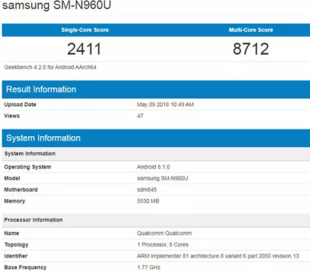 galaxy note 9 geekbench