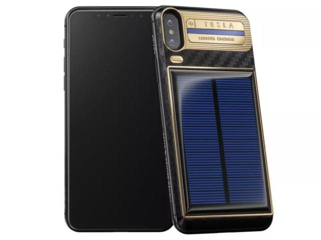 Personalización del iPhone X Tesla con paneles solares