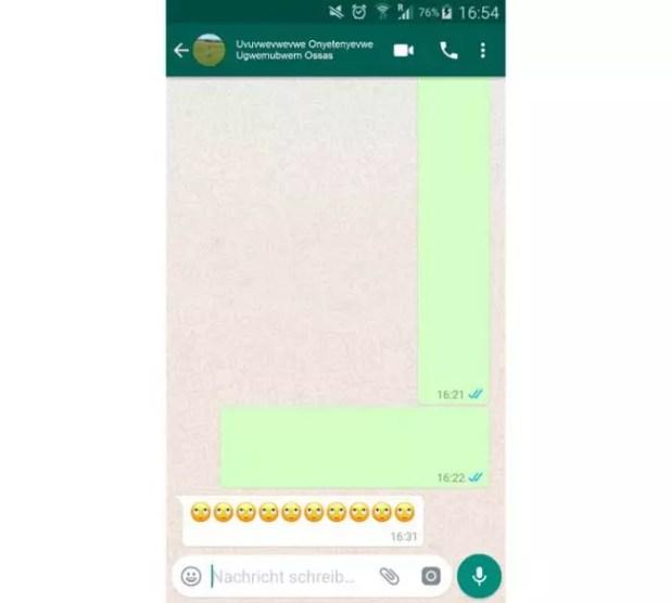 mensajes vacíos en WhatsApp