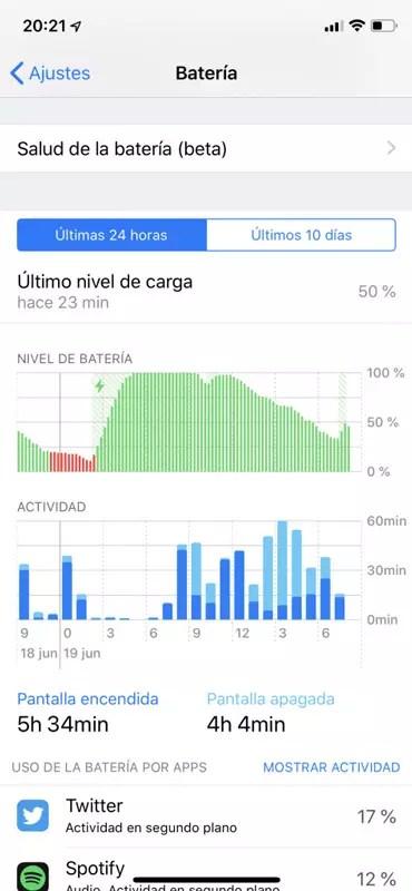 Consulta de consumo de batería en iOS 12 Beta 2