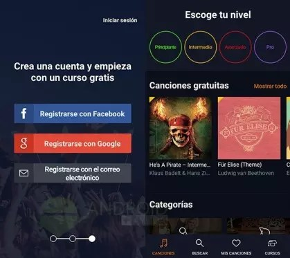Flowkey-app-menú principal