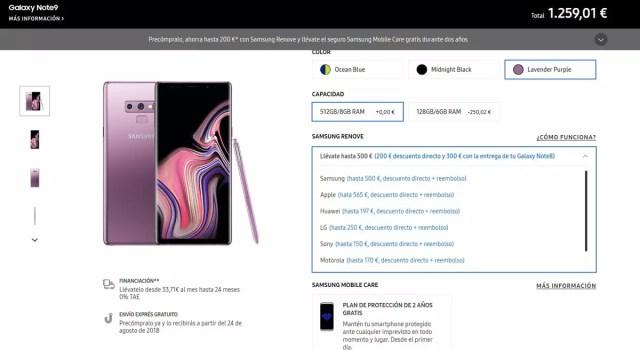 Precompra del Galaxy℗ Note 9 en la tienda de Samsung