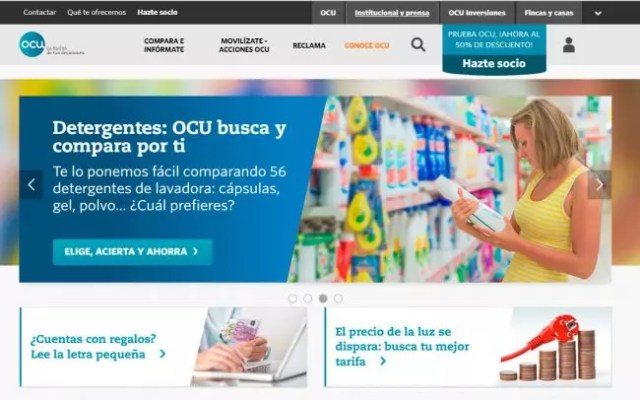 Página website de la OCU