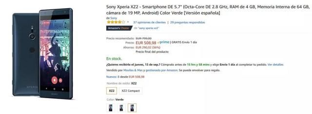 Precio del Sony℗ Xperia(móvil) XZ2 en oferta en Amazon