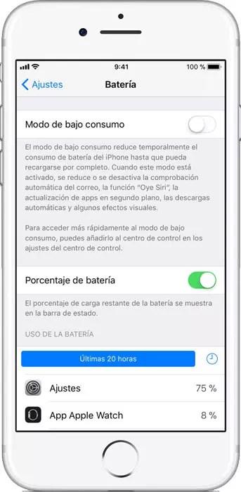 Nivel de carga de la batería en iOS