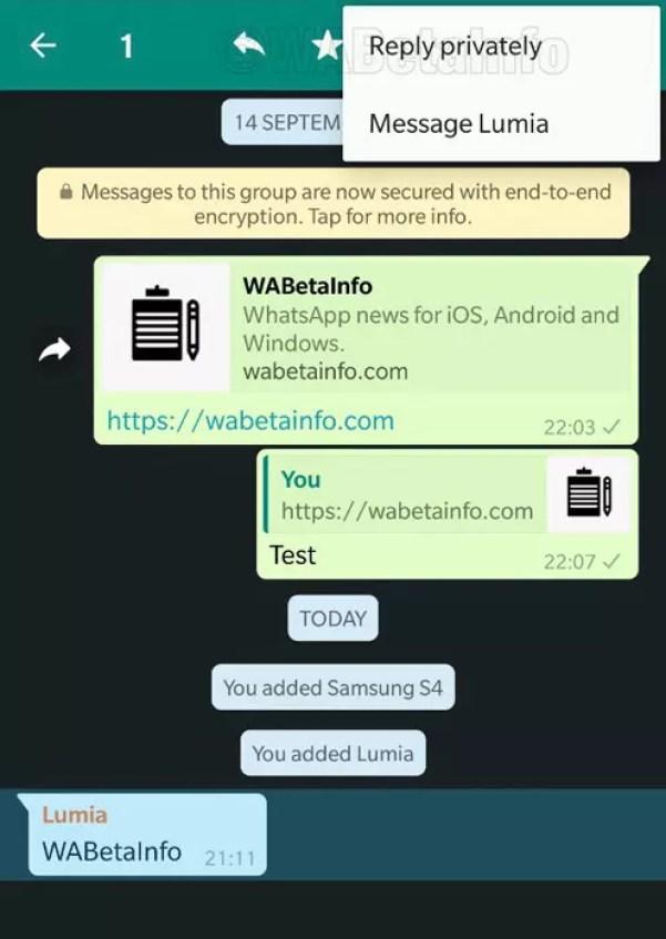 Opción de responder por privado a un mensaje de grupo en WhatsApp