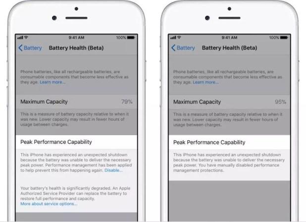Perfil de gestión energética en iPhone