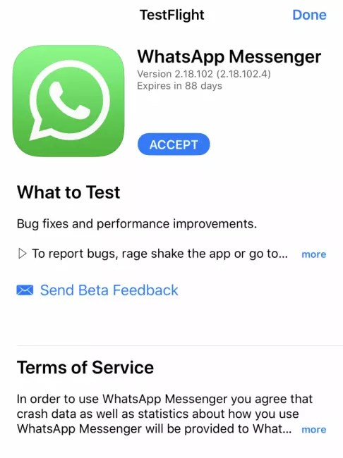 Invitación WhatasApp Beta para iOS