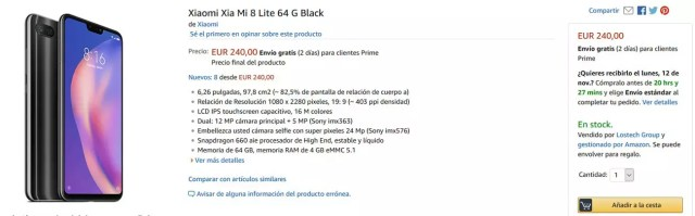 Opcion de compra del Xiaomi℗ Mi 8 Lite desde Amazon