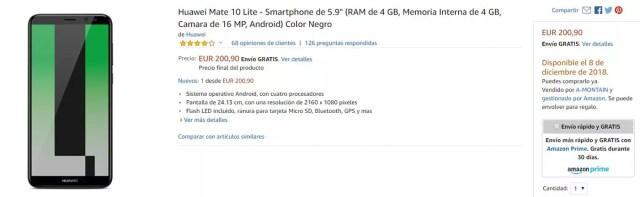 Precio del Huawei℗ Mate 10 Lite con descuento en la tienda de Amazon