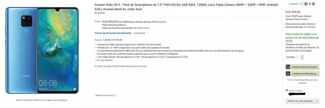 Huawei Mate 20 X en pre-venta en Amazon