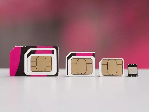 Tamaño de la eSIM frente al resto de tarjetas SIM