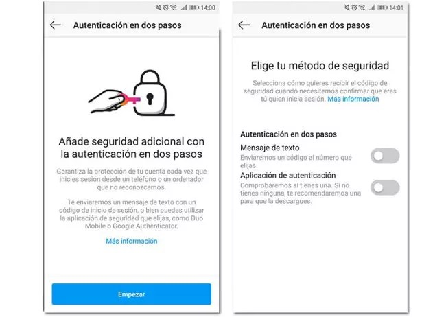 autenticación dos pasos instagram