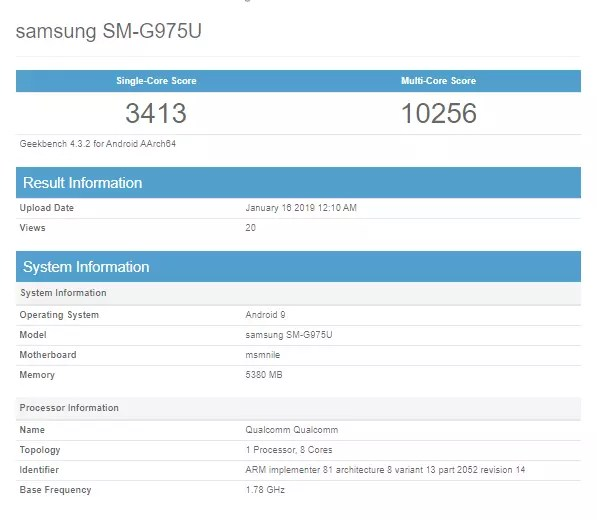 galaxy s10 plus geekbench