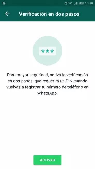 verificación dos pasos whatsapp