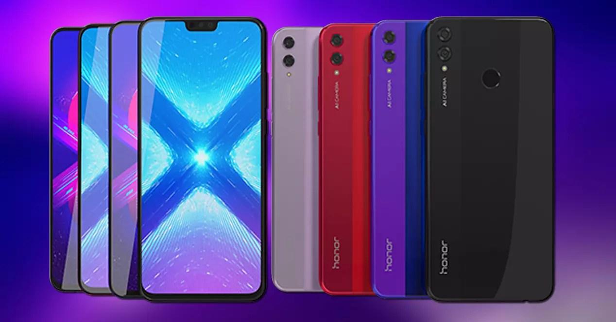 Frontal y trasera del Honor 8X en colores negro, azul, rojo y purpura