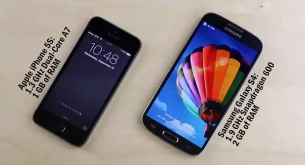 Enfrentamiento en video del iPhone 5S y Galaxy S4