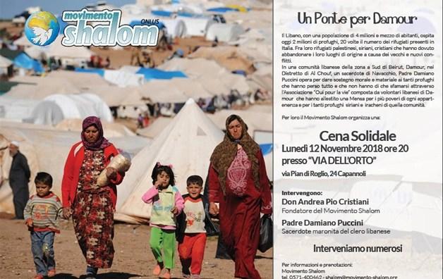 Un ponte per Damour – Cena solidale il 12 novembre a Capannoli