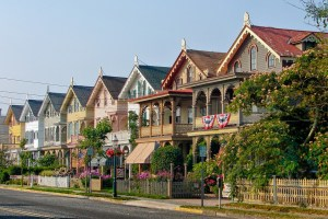 A row of houses that you could see after moving to Bergen County.