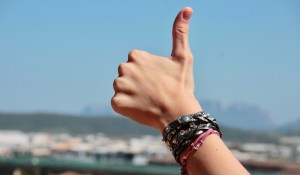 A thumbs up gesture.