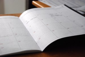 planner with a date for clearing out your garage